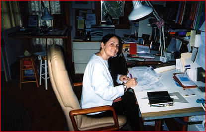 Gail Gibbons at work at her desk