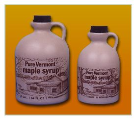 Pure Vermont Maple Syrup in plastic jugs